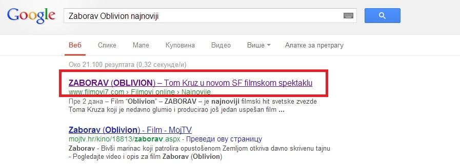 Google title tag - primer kako izgleda