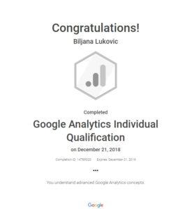Fotografija Google Analytics sertifikata