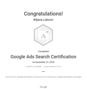 Slika Google Ads Search sertifikata