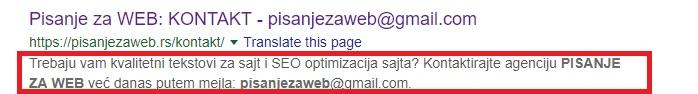 Primer Description tag-a u Google pretrazi